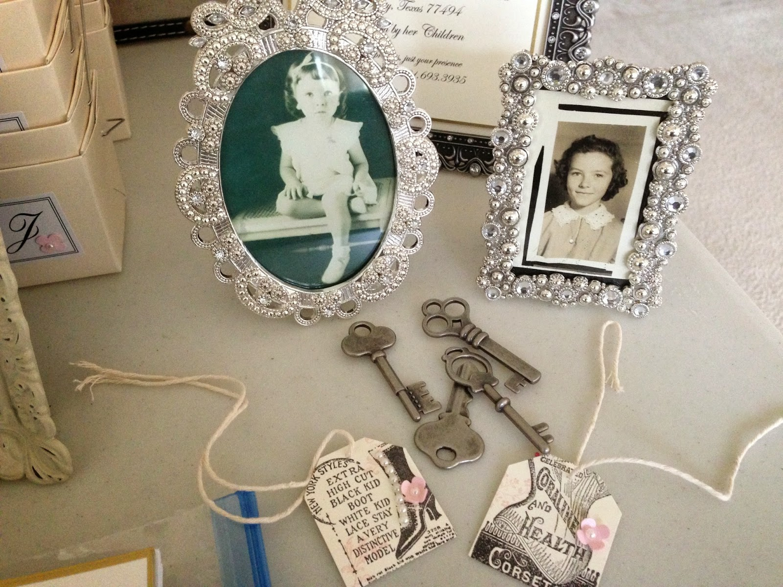 Since I Went With A Vintage Theme For The Party Loved Including Old Tags Keys And Pictures Of My Mom
