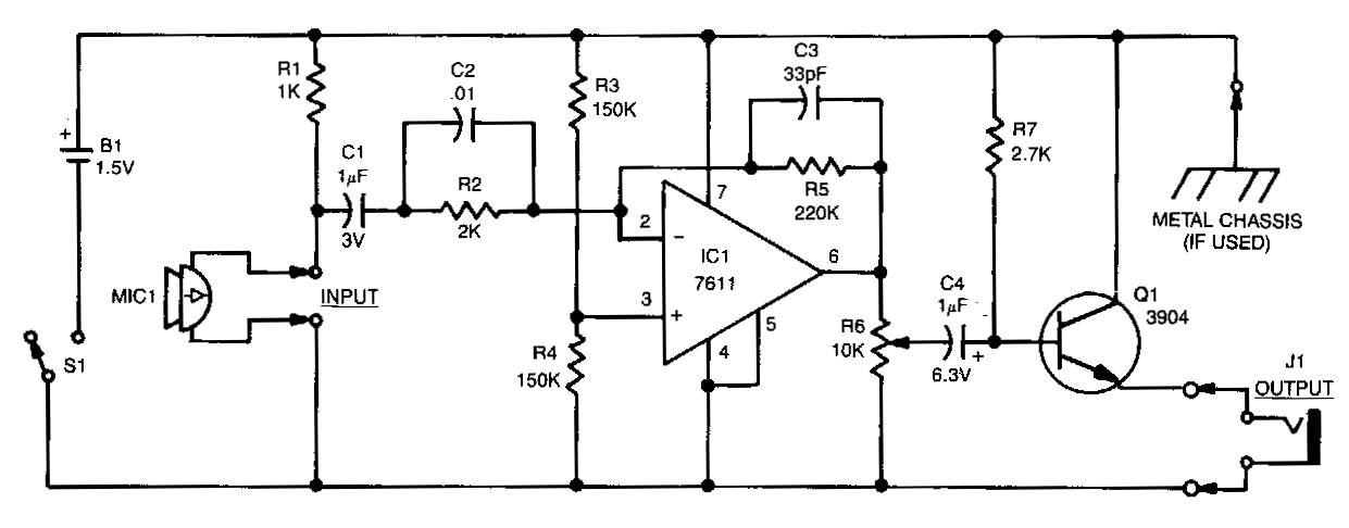 Electronics Projects: Micro Sized Amplifier Circuit Diagram