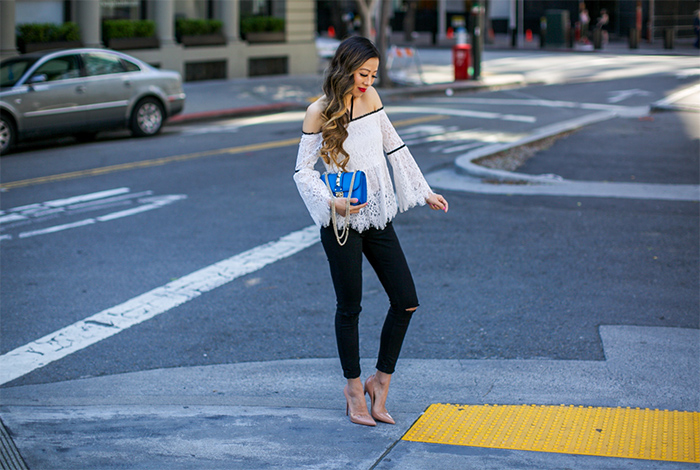 white lace halter top, alexis grace top, valentino lock bag, baublebar earrings, 7fam baire denim, christian louboutin so kate pumps, san francisco street style, san francisco fashion blog, date night outfit ideas
