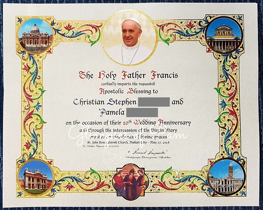 Pope blessing certificate