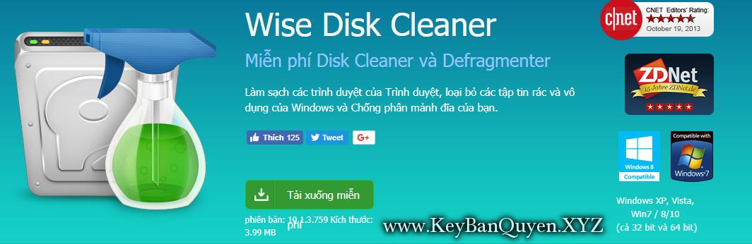 Wise Disk Cleaner 10.1.2.757.Stable Full Key, Phần mềm dọn dẹp rác và File Temp trên máy tính.