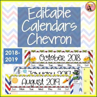 Editable Calendars 2018-2019 Chevron