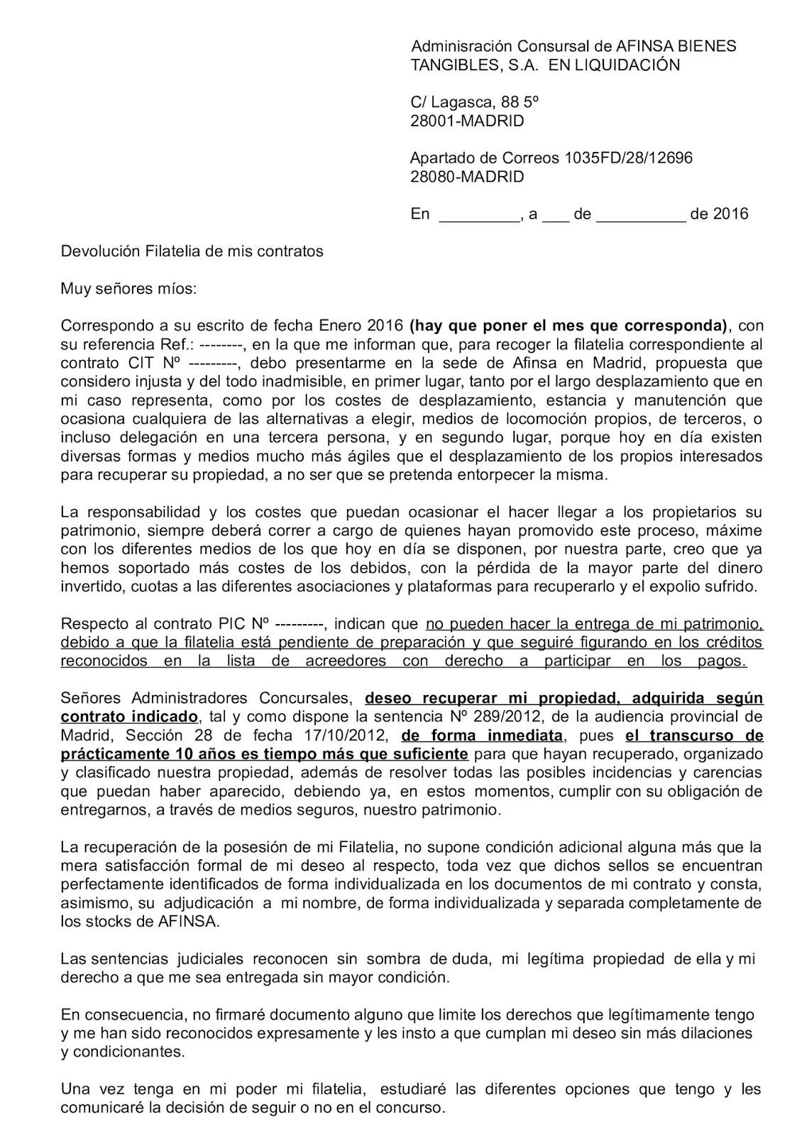 NUEVO MODELO CARTA A LOS AACC DE AFINSA, CONTESTACIÓN A LA RETIRADA ...