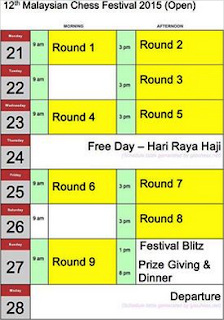 Brand New Open Schedule For Malaysian Chess Festival 2016