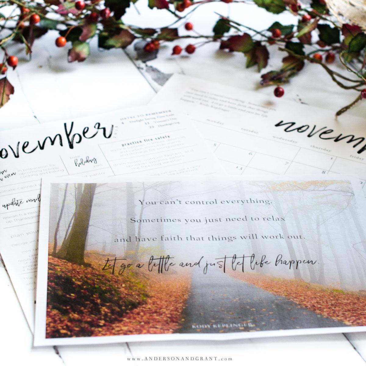 Free November Printables