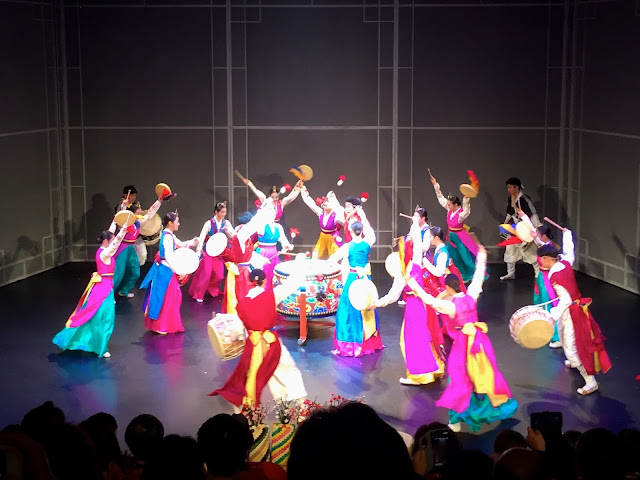 Drum ensemble finale from The Queen's Banquet, traditional dance show, in Busan, South Korea