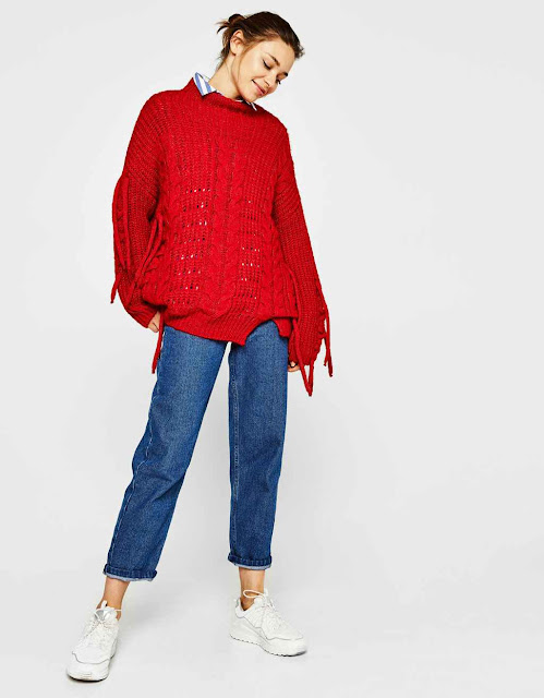 red cable knit sweater with straps