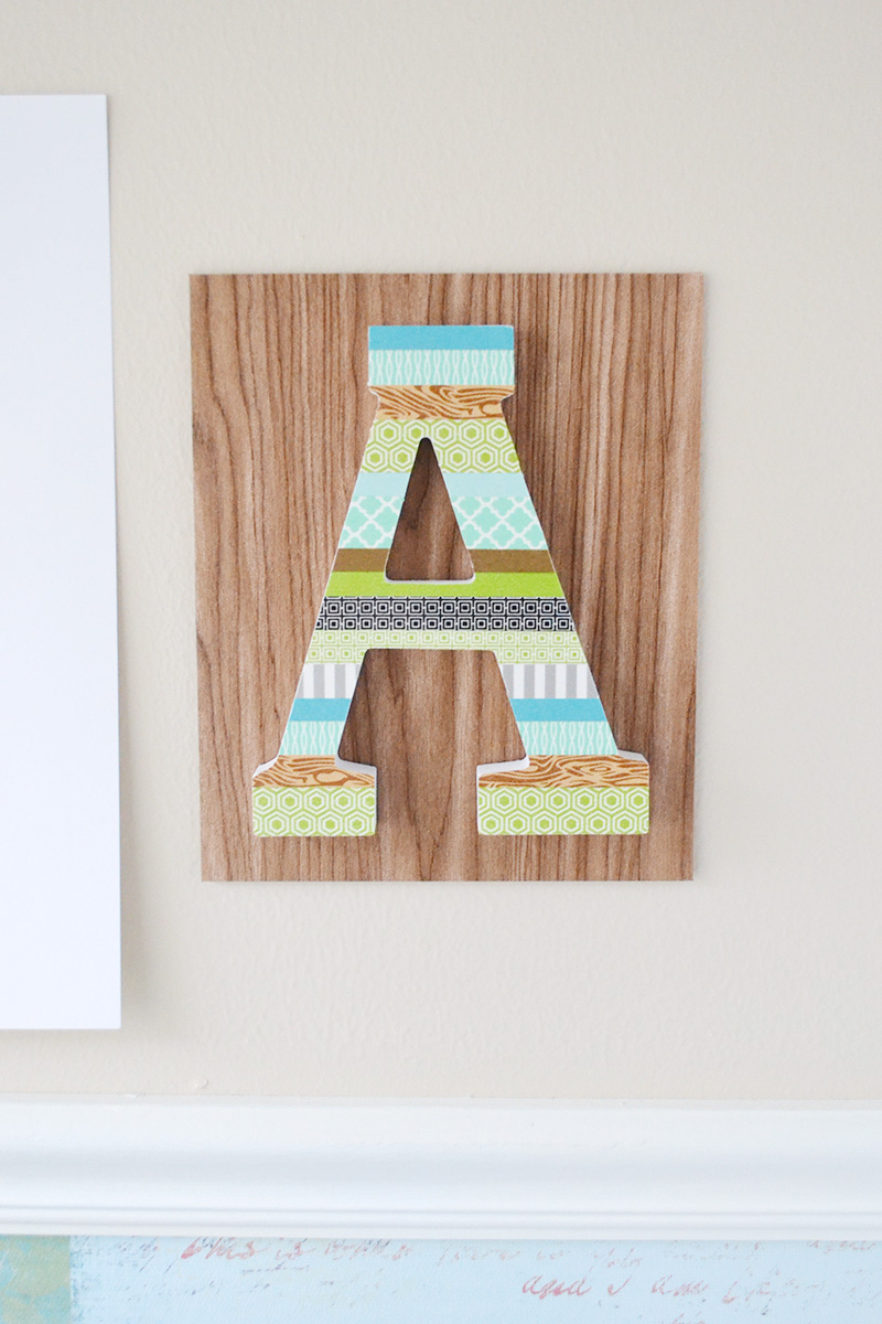 Aly Dosdall: washi tape monogram wall art
