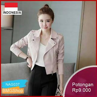 NAG037 Jacket Cewe Ori Black Pink Premium Kulit Pu Bmgshop
