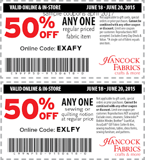 Hancock Fabrics coupons for april 2017