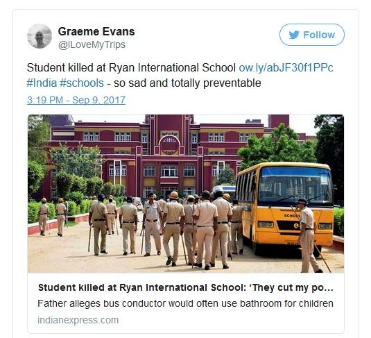 Class 2 Boy Found Murdered In Gurugram's Ryan Intl School