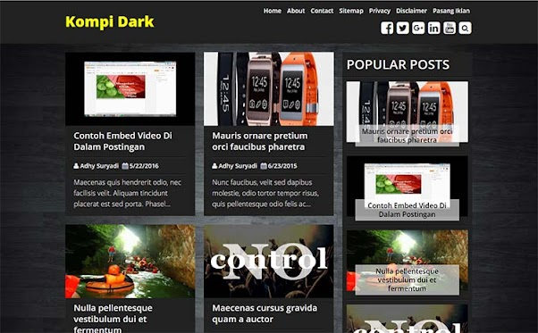 Premium Blogger Template - Kompi Dark