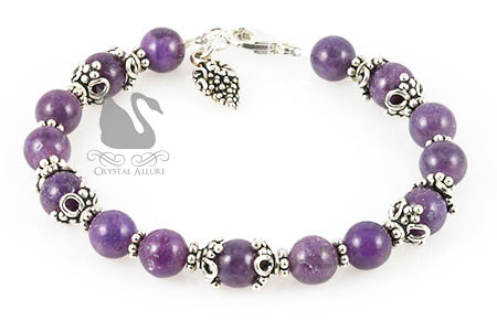 Grape Wine Lepidolite Gemstone Beaded Bracelet (B142)