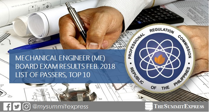 February 2018 Mechanical Engineer ME, CPM board exam list of passers, top 10