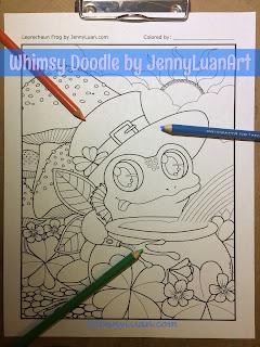 Leprechaun Frog Coloring Page by JennyLuanArt