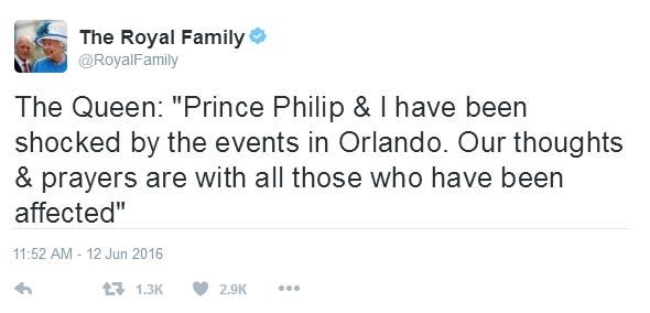 Queen Of England tweets on Orlando nightclub shooting