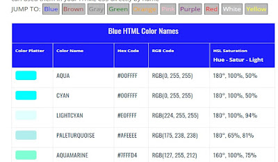 HTML color name hex color code RGB color Code
