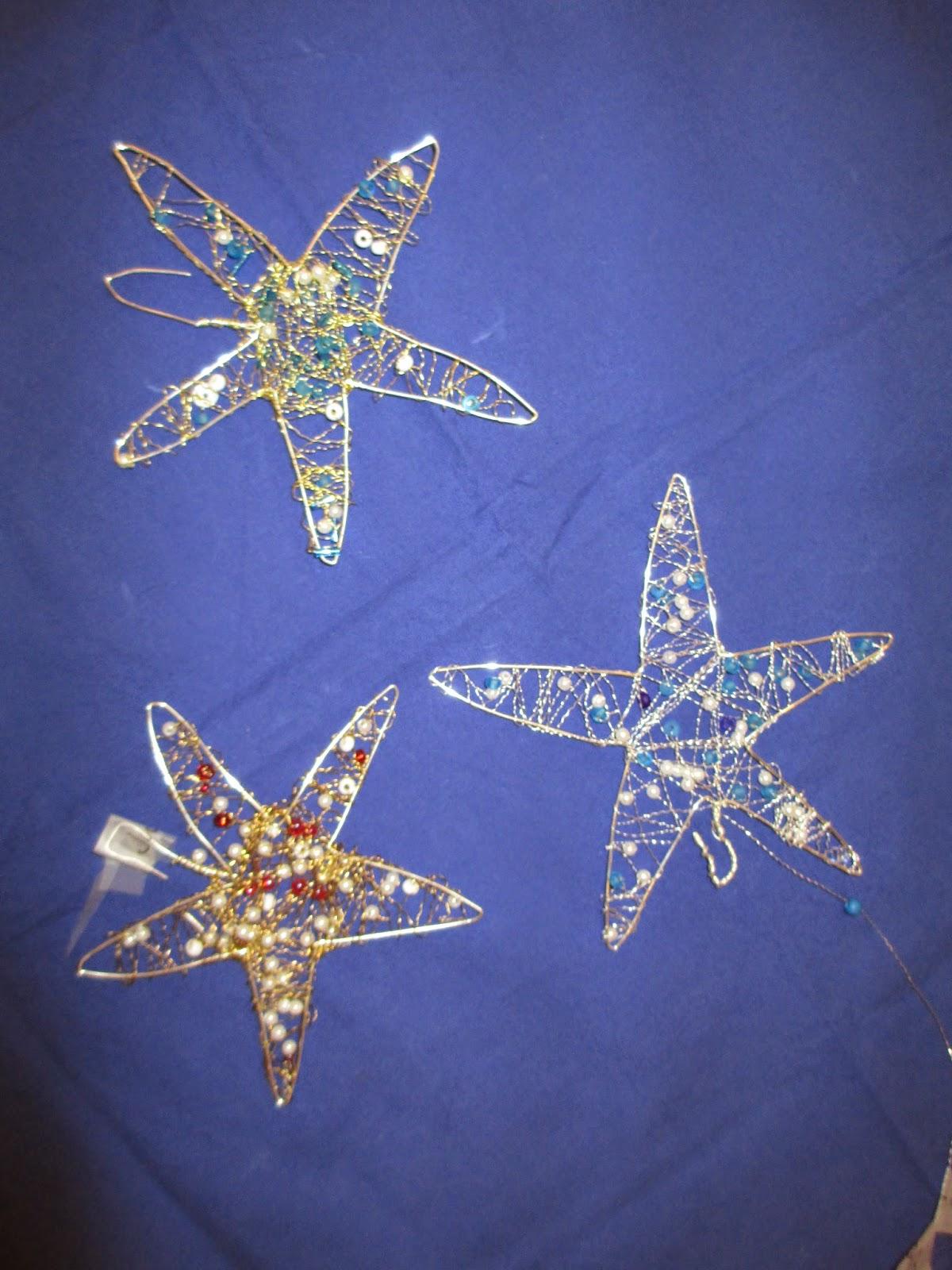 Märlimuus: Sterne aus Draht mit Perlen - Weihnachtsgeschenk