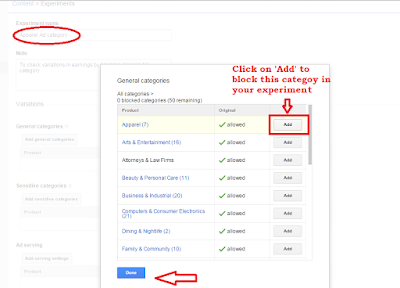 Allow/block Ad categories to do A/B testing