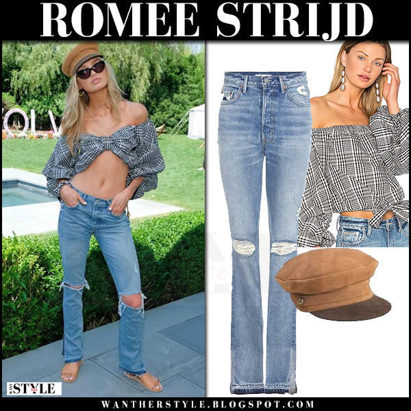 Romee Strijd in plaid off shoulder top lovers and friends and ripped knee jeans grlfrnd what she wore july 4 2017
