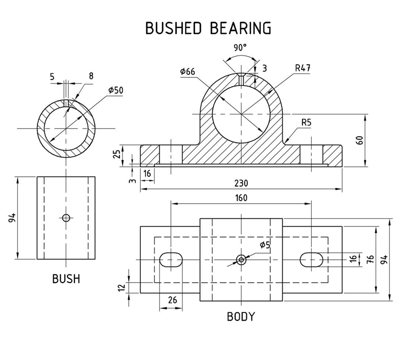 Machine Drawing: Bushed Bearing and Gib and Cotter Joint