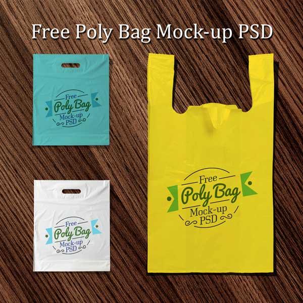 Plastic Poly Bag Mockup PSD