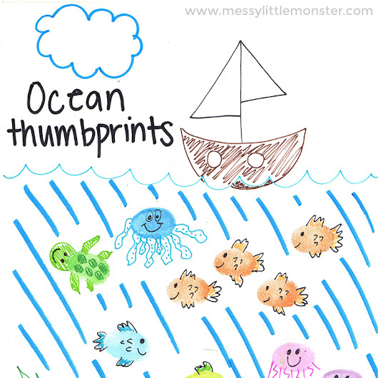 Ocean Theme Thumbprint Animals - Easy step by step instructions