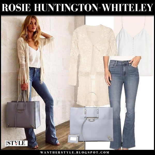 Rosie Huntington-Whiteley in ivory fringed talitha ghara jacket, flare jeans paige denim and grey tote what she wore