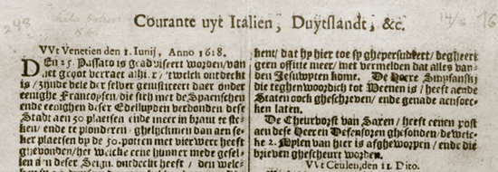 Courante uyt Italien, Duytslandt, &c. (1618-1670)