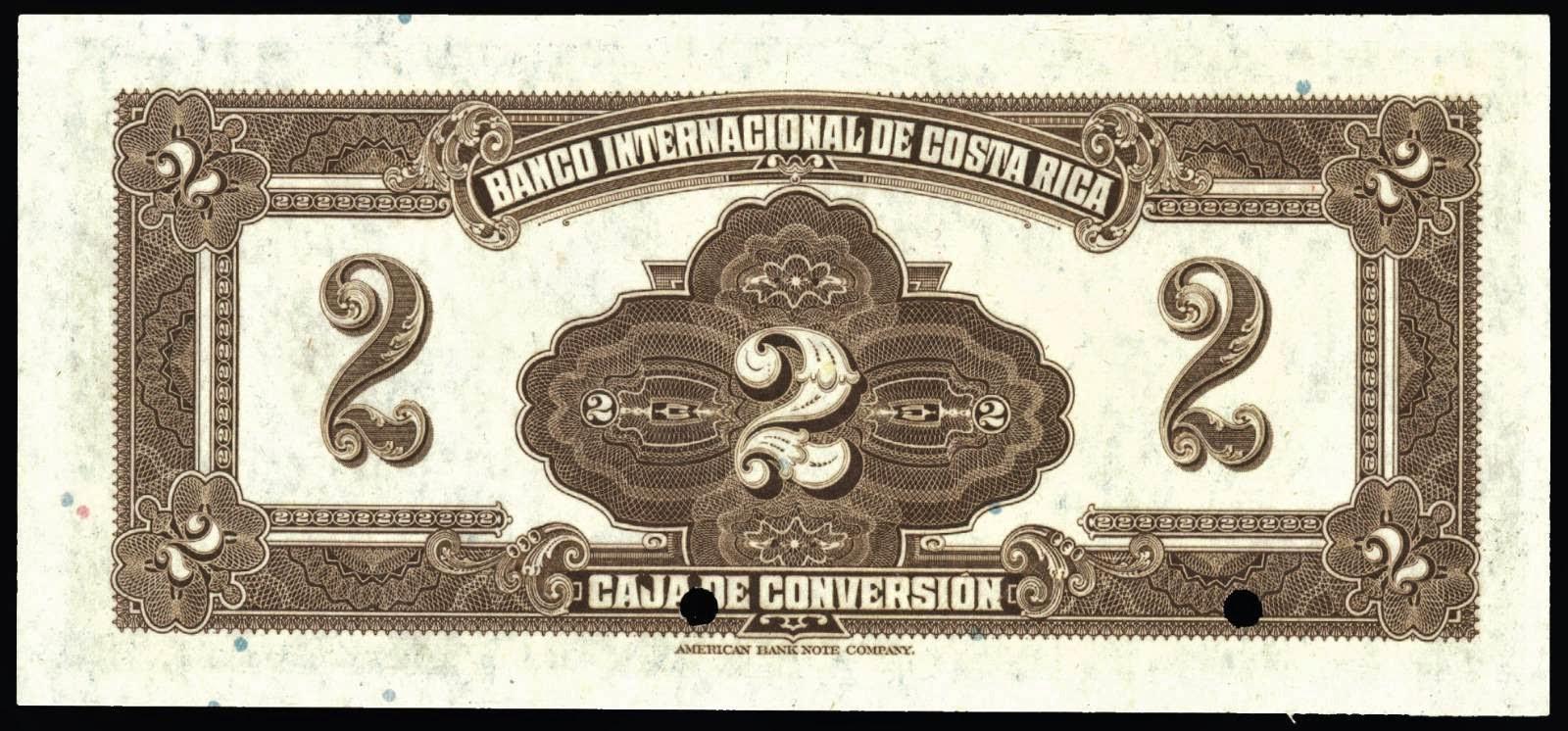 Costa Rica 2 Colones banknote 1924 Banco Internacional de Costa Rica