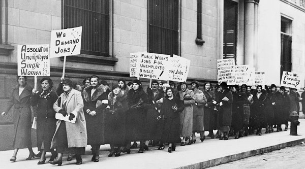 Reivindicação das mulheres trabalhadoras.