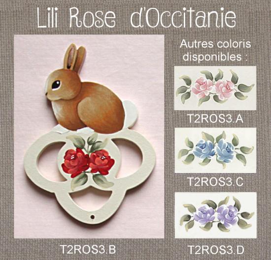 """Tri-fils """"Lapin"""", bois peint orné de roses coloris au choix. Broderie et point de croix"""