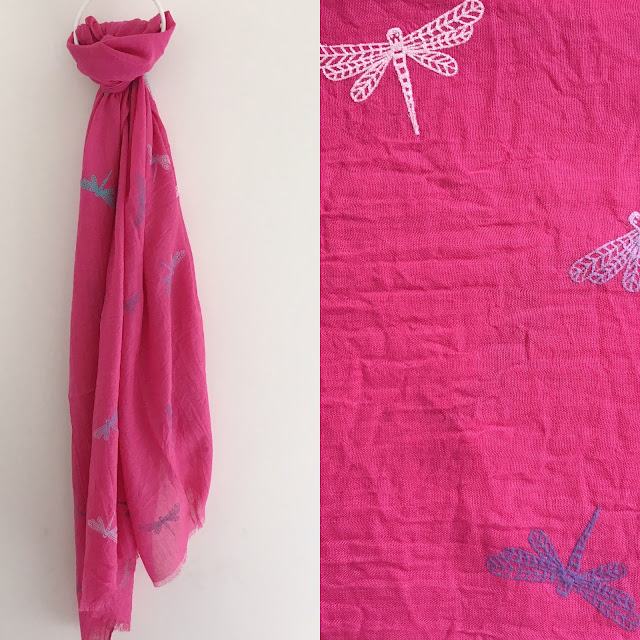 Bright pink dragonfly scarf