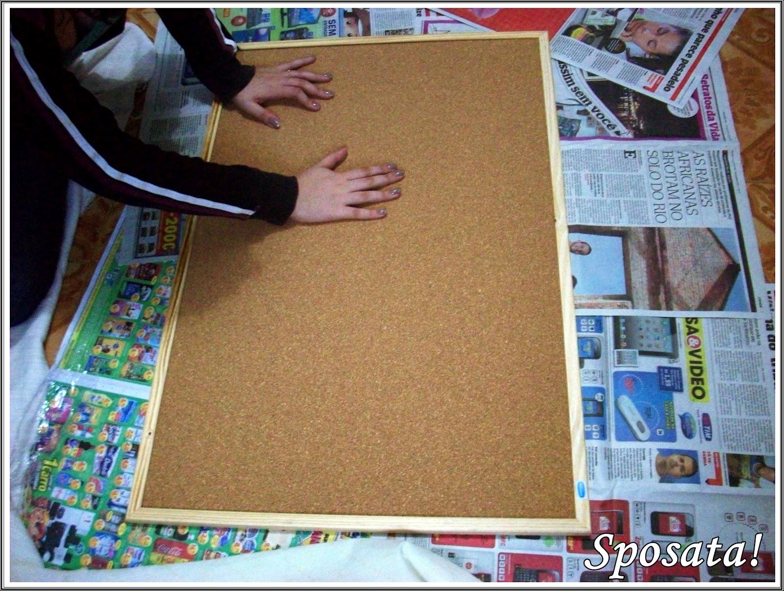 Sposata passo a passo mural de fotos recados forrado for Como fazer um mural de recados
