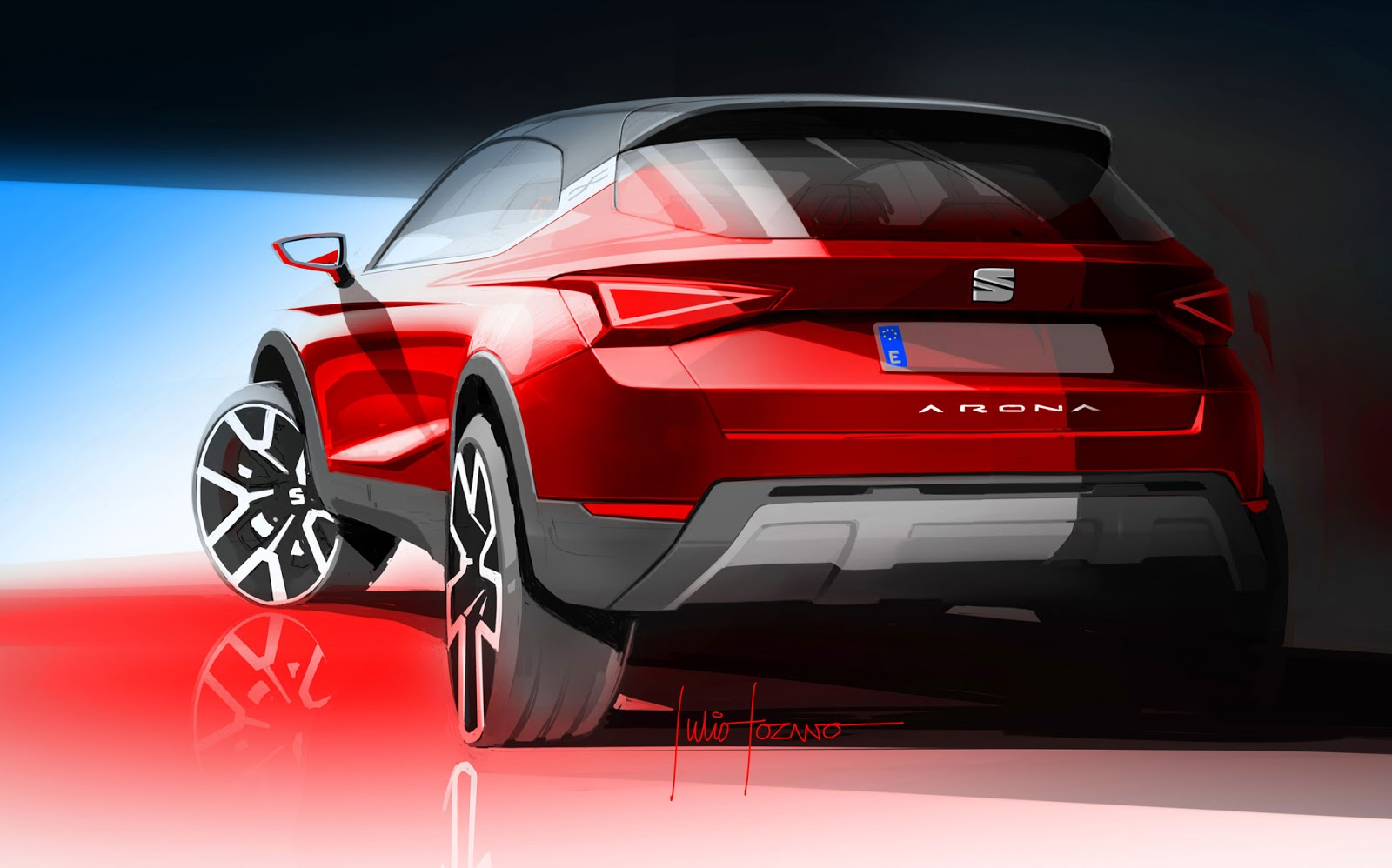 Seat Arona sketch by Julio Lozano, showing the tail