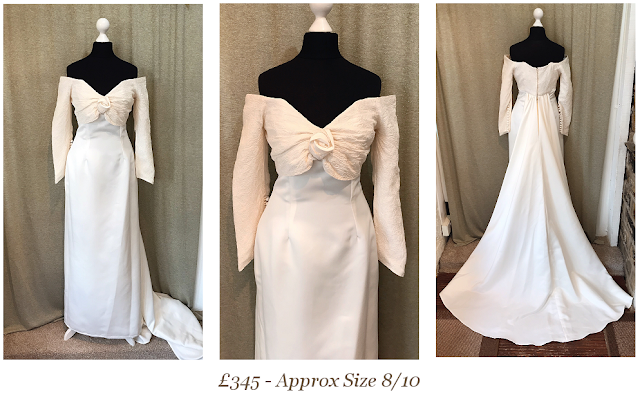off the shoulder long sleeve bardot style vintage wedding dress available from vintage lane bridal boutique bolton manchester