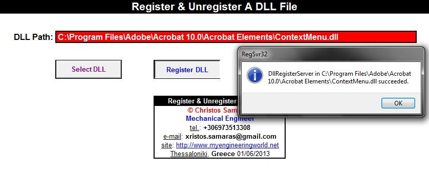 Register & Unregister A DLL File Through VBA – My