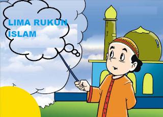 Gamar anak yang sedak menunjukkan tulisan Lima Rukun Islam