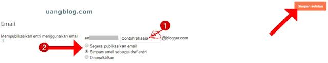 Mempublikasikan entri menggunakan email-Posting using email