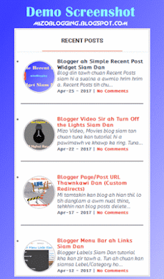 Blogspot Recent Post Widget Siam Dan