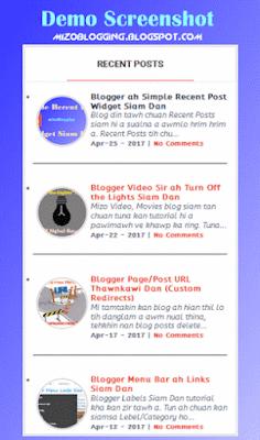 Blogspot Recent Post Widget Siam Dan