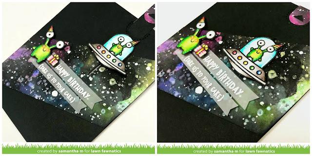 Take Me to Your Cake Card by Samantha Mann for the Lawn Fawnatics Challenge Blog, Lawn Fawn, Galaxy, Distress Paint, Birthday Card, #birthday #alien #ufo #galaxybackground #handmadecard #card #lawnfawn