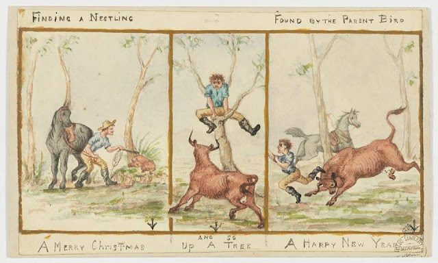 """Christmas Card design depicting three scenes of a young man prodding a sleeping bull, being chased by the bull, and ending up a tree with the words """"A Merry Christmas A Happy New Year""""."""