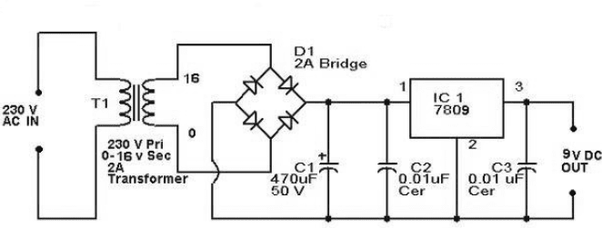 9 volt power supply circuit diagram using ic 7809