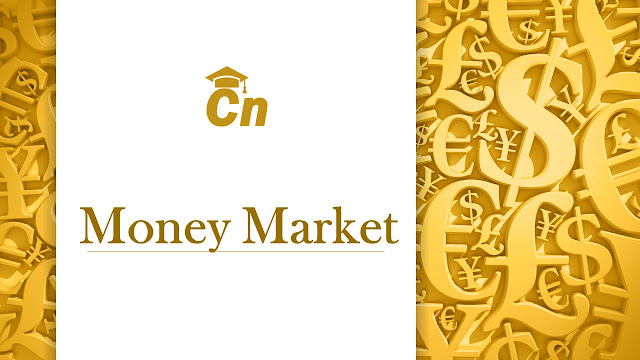 Money Market written in golden color, Careerneeti logo,various money symbols like dollar, franc, euro, yuan written in background