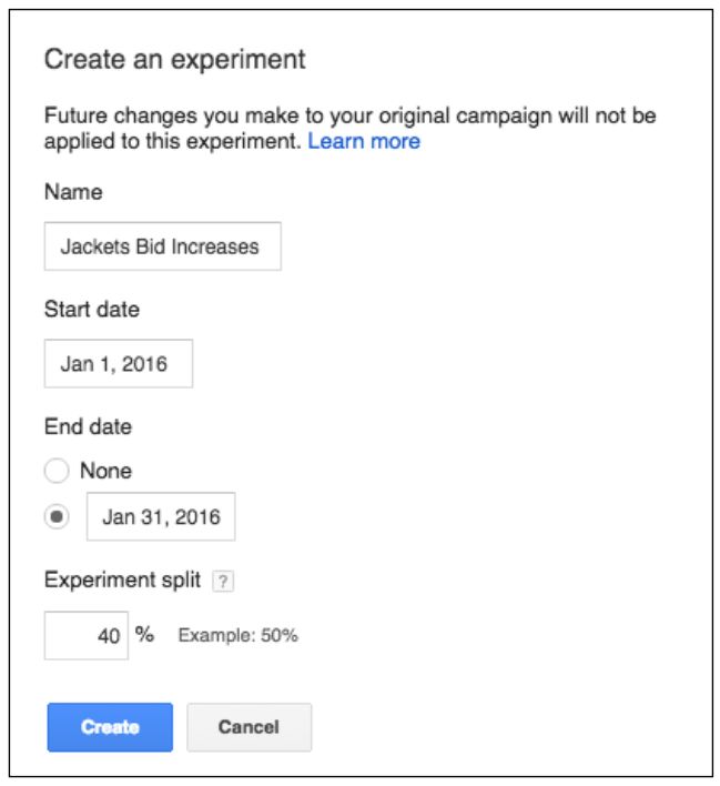 Adwords Experiment Setup