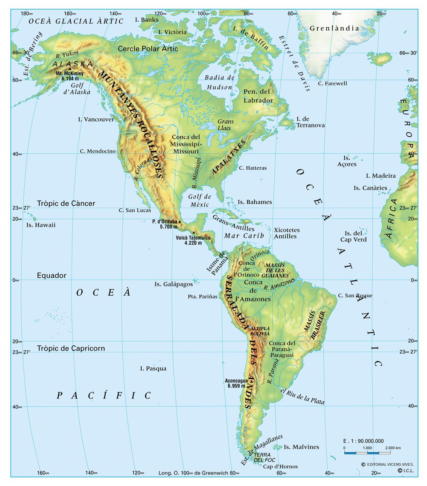 Mapa Fisico De America.1 2 Relieve Mapa Fisico America Norte Y Sur