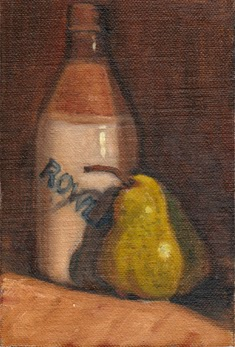 Oil painting of a pear and an earthenware ginger beer bottle with Rowlands written diagonally across its front.