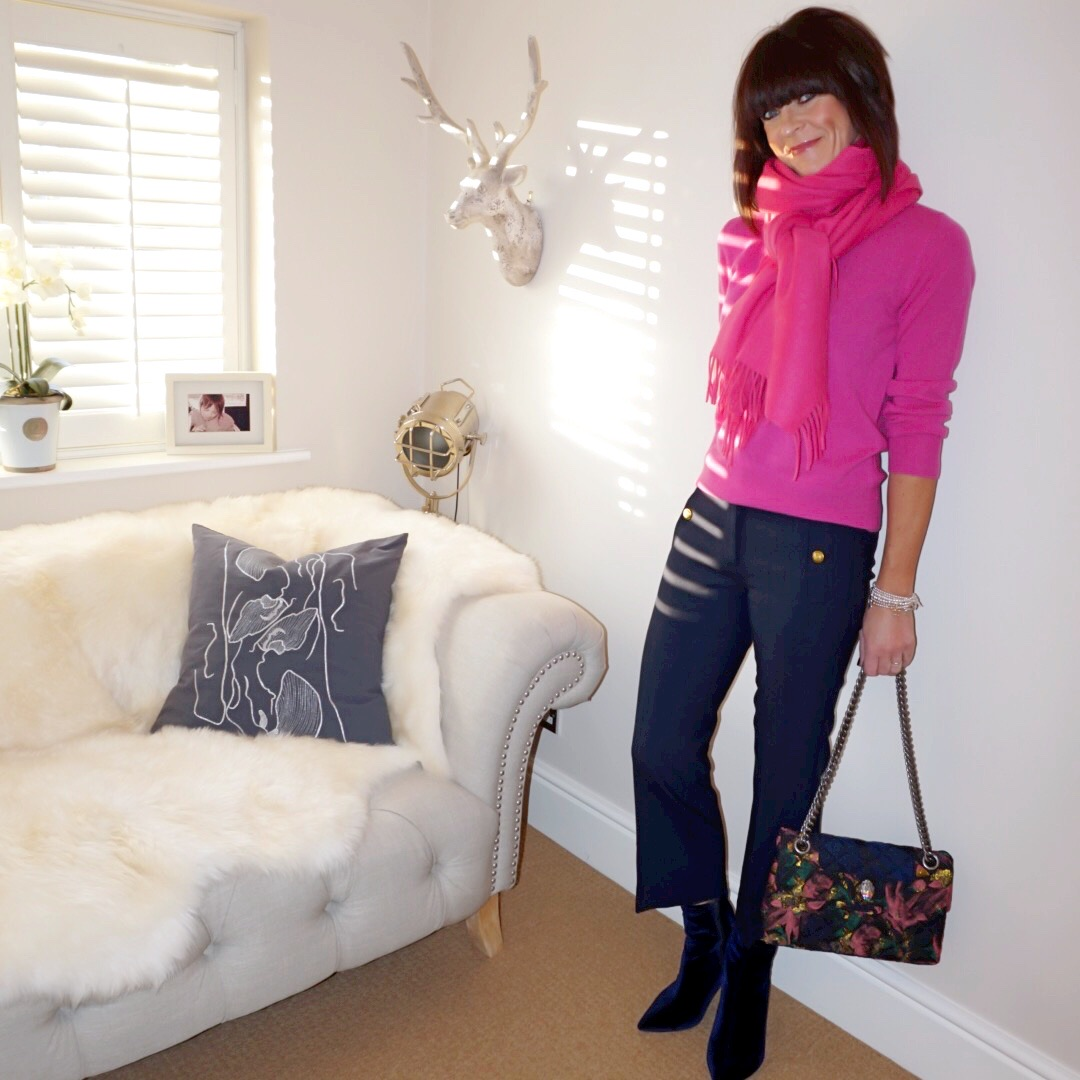 my midlife fashion, and other stories oversized wool scarf with tassels, marks and spencer pure cashmere crew neck jumper, j crew military cropped kick flare trousers, kurt geiger kensington fabric bag, marks and spencer stiletto heel side zip ankle boots