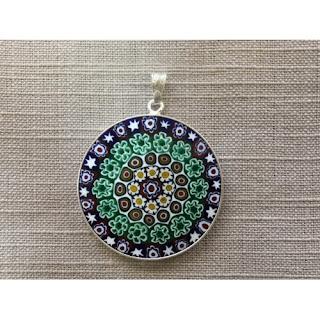 Muránói medál - Zöld mandala
